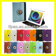 Magnetic Rotating Leather Case for the New iPad 3 Smart Cover With Swivel Stand 360 Degree Plain Synthetic Color light blue