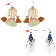 Chinese Style Silver Gold Metal Tassel Earrings Fashionable Jewelry