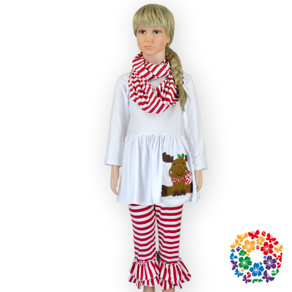 Girls Christmas Outfits White Top Dress With Santas Reindeers And Ruffle Striped Pants Set Baby Girl Boutique Clothing Sets