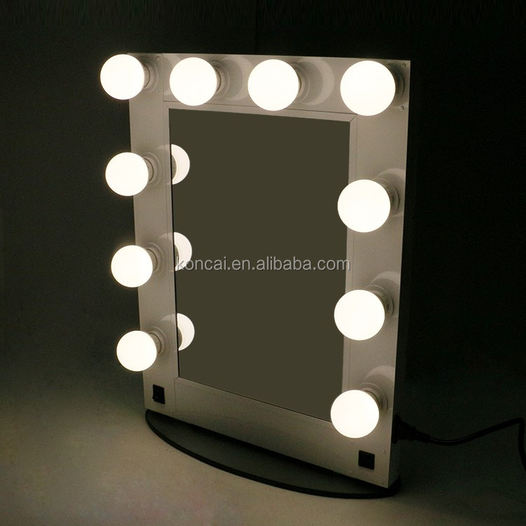 Professional hollywood style makeup mirror with led light,desktop metal mirror