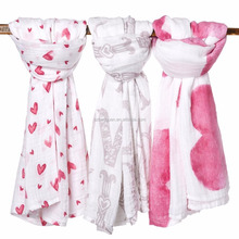 Organic Muslin Swaddle Baby Girl Blankets in 3 Beautiful Prints, XL size, Packaged in Exclusive Gift Box