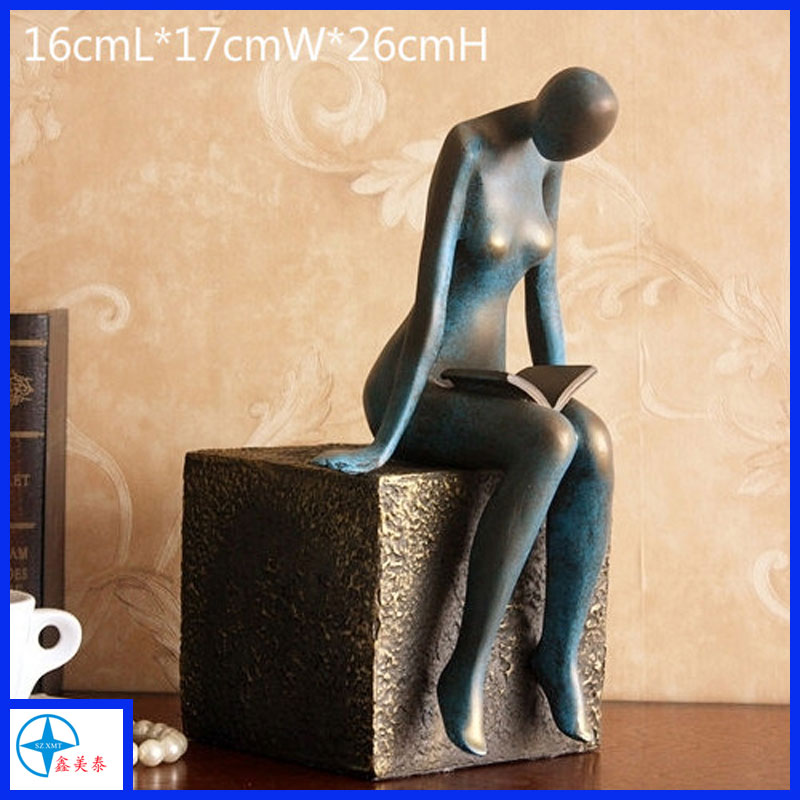 XMT resin nude reading girl figure sculpture, female statue with bronze mimic finish