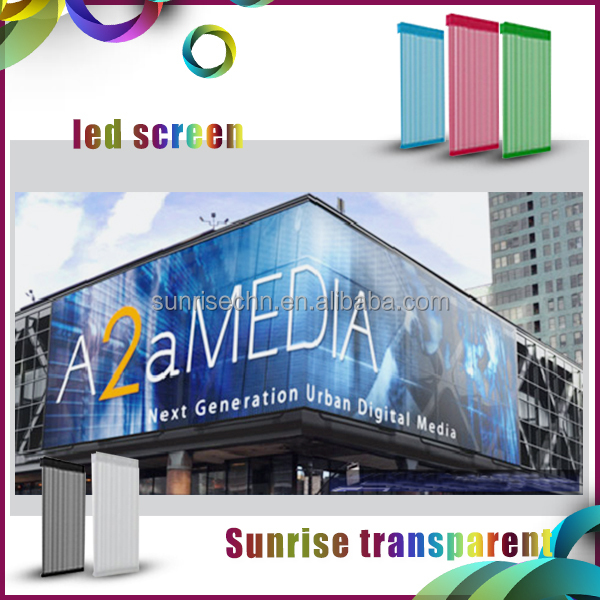 Outdoor large transparent mesh led screen meida facade glass led panel