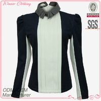 detachable collar contrast color office uniform blouse design