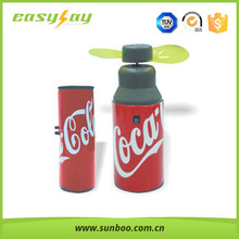 Coke Shape Mini PVC Blades fans,Battery operated ABS and PVC handheld portable mini toy fan ,PVC Plastic blades