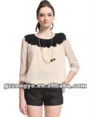 Girls' chiffon polka dot vintage blouse Guangzhou clothing factory wholesale