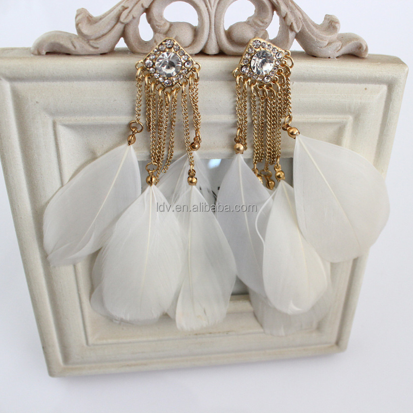 New design simple gold square alloy pave rhinestone and feather pendant fashion drop Earrings