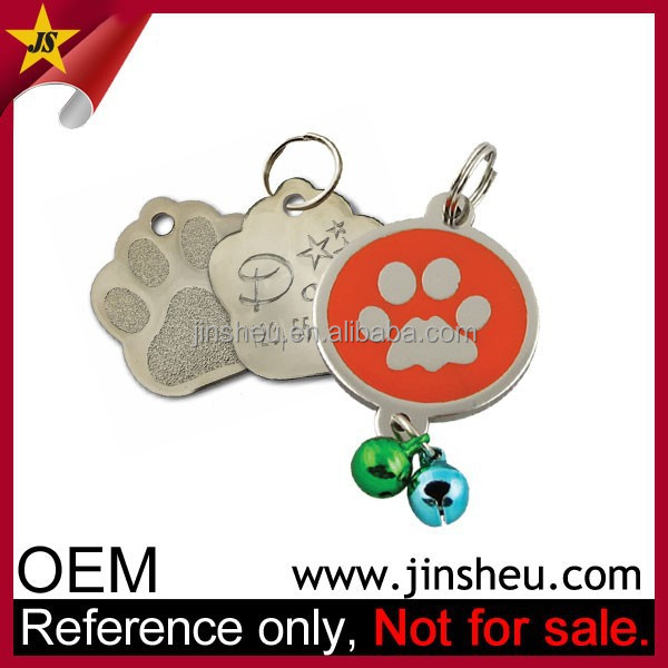 Wholesale Blank Silver Nickel Paw Shaped Custom Metal Dog ID Tag