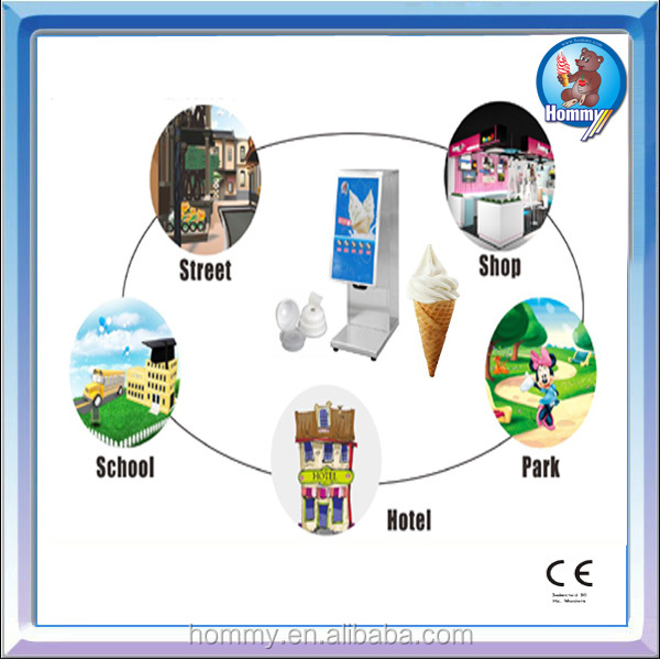 One shot ice cream mahcine as Hommy Soft Serve Frozen Yogurt on Stand with CE certifiate