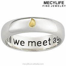 MECYLIFE Cute Gold Water-drop Ring Stainless Steel Memorial Sentiment Ring