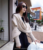2in1 Knitted Wool Scarf Shawl with Sleeves