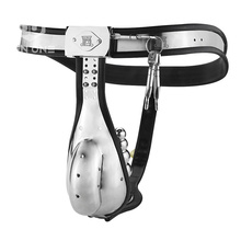 Stainless Steel Male Chastity Belt with Cock Cage and Anal Butt Plug Adjustable Belt Strap chastity belts for boys