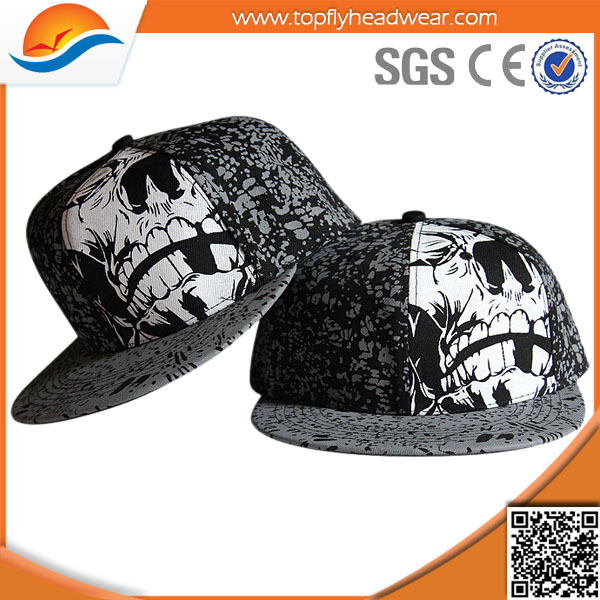 new products for 2014 flat bill cheap black printed flexfit snapback cap