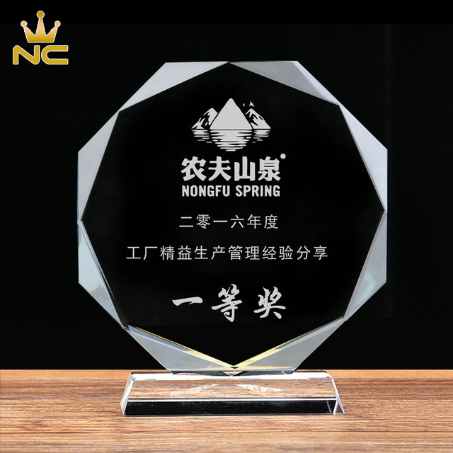 Cheap Octagon Shaped Crystal Plaque For Memorial Business Gifts
