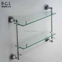 New design Zinc alloy Chrome plated Wall mounted bathroom accessories Double layers Glass shelf with safe bars