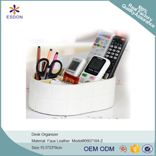 Leatherette Desk Organizer for Office Supplies Stationery Remote Pencil Holder Collection tray-White
