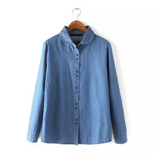 round collar solid color girls denim shirt