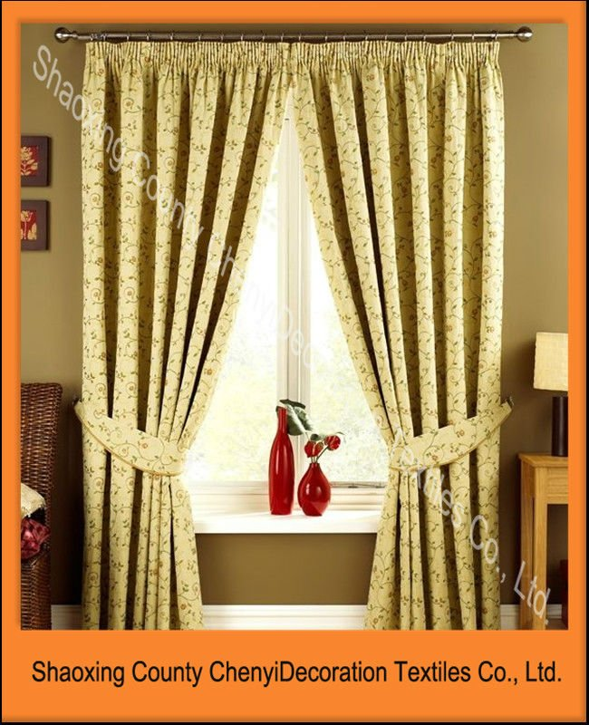 Jacquard curtain with luxury valance