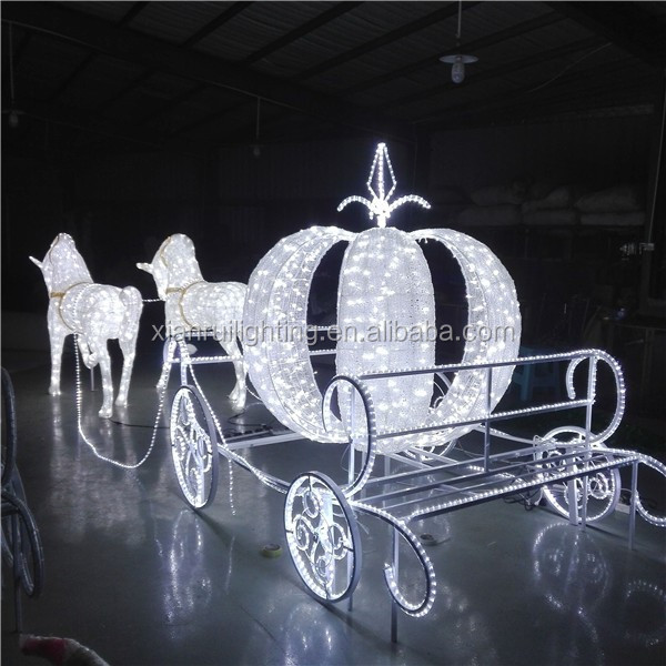 Commercial led outdoor christmas decoration horse carriage
