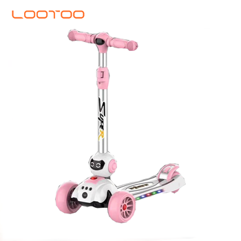 New design cute cheap folding toys small mini funny foot kick three 3 wheels scooter children kids with flashing