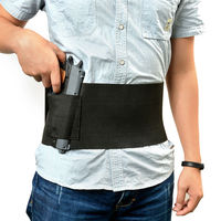 Black Tactical Adjustable Concealed Carry Belly Band Waist Pistol Gun Holster with 2 Magzine Pouches