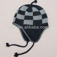 high-quality man's knitted earflap hat with braids