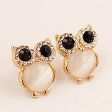 Zinc Alloy Cute Owl Stud Earrings Rhinestone Opal Black Gold Color Stud Earrings For Women