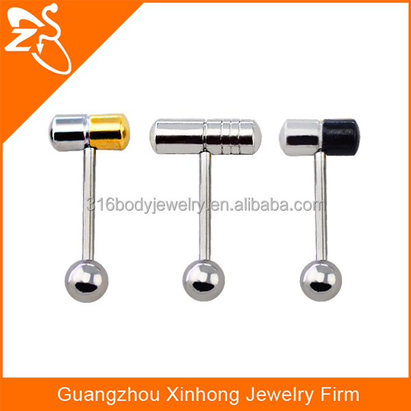 316 L stainless steel pill tongue barbell piercing vibrating tongue ring