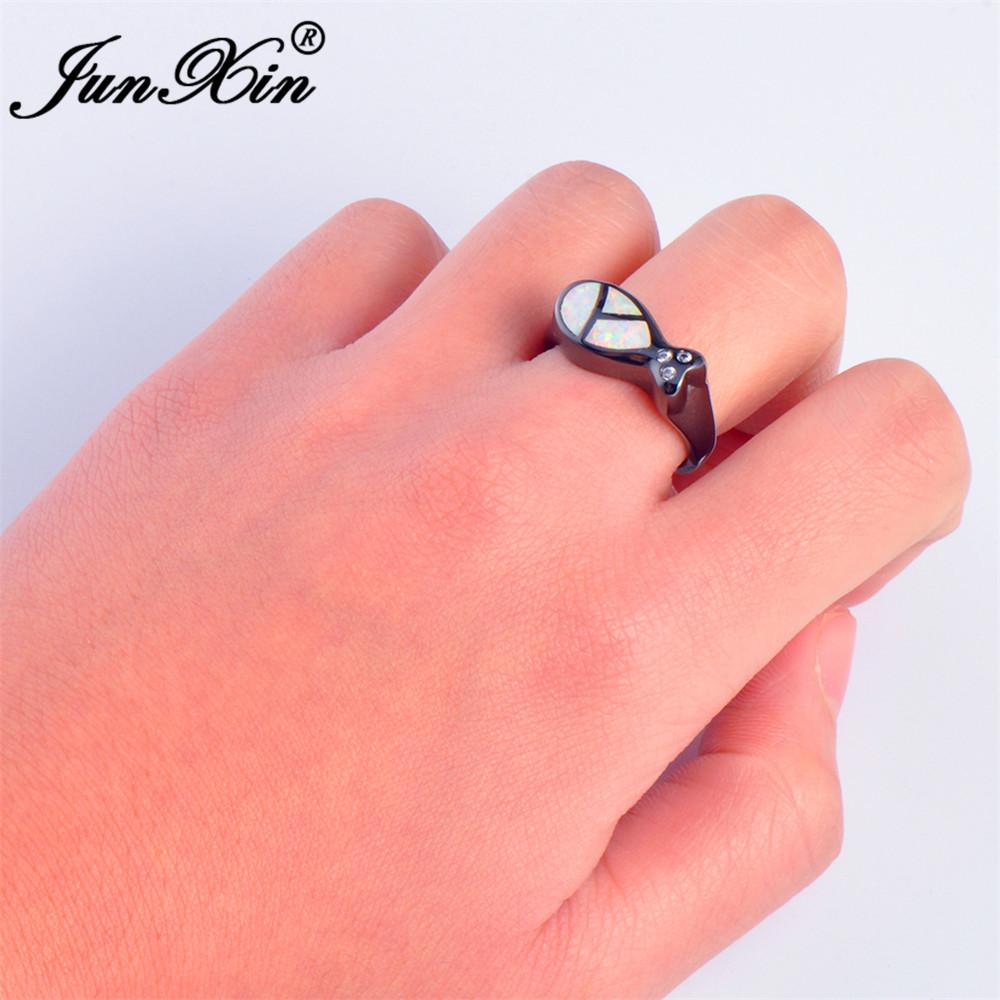 JUNXIN Brand Female Bear Ring Blue/White Fire Opal Ring Fashion ...
