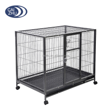 Heavy Duty Solid Metal Wire Large Dog Kennel Crate Pet Cage w/ Wheels Tray Locks