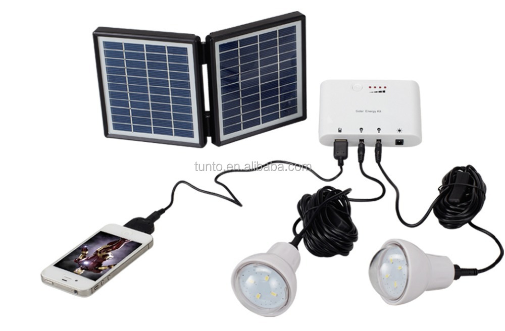 Solar energy kits for home,camping,reading,garden,10 hours working time by 2pcs LED bulbs