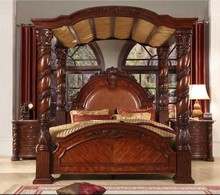 Bisini New Product Wood Bedroom Set, Solid Wood Luxury King Bed