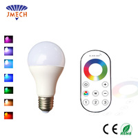 9W E26 Dimmable LED Light Bulb RGB White Color Temperature Adjustable 2.4G RF Wireless Remote Controller