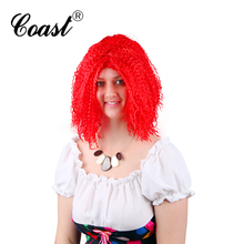red color synthetic spike hair wigs wholesale