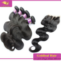 high quality 100% virgin brazilian body wave hair with closure for one head
