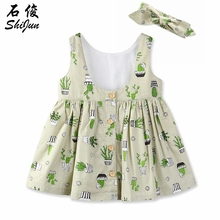 ShiJun 2018 New Arrive Cactus Backless Kids Dress Frock Designs for Girls
