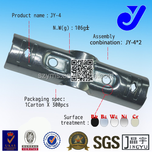 JY-4|3 way pipe black metal joint|Chrome metal joint for product pipe shelves