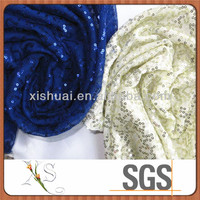 New Design Beaded Sequin Applique Mesh Embroidery Fabric For Silver Dress