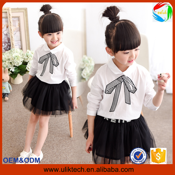 girls clothing 2016 wholesale kids clothes 2pcs boutique girl's top with bow kids dress set