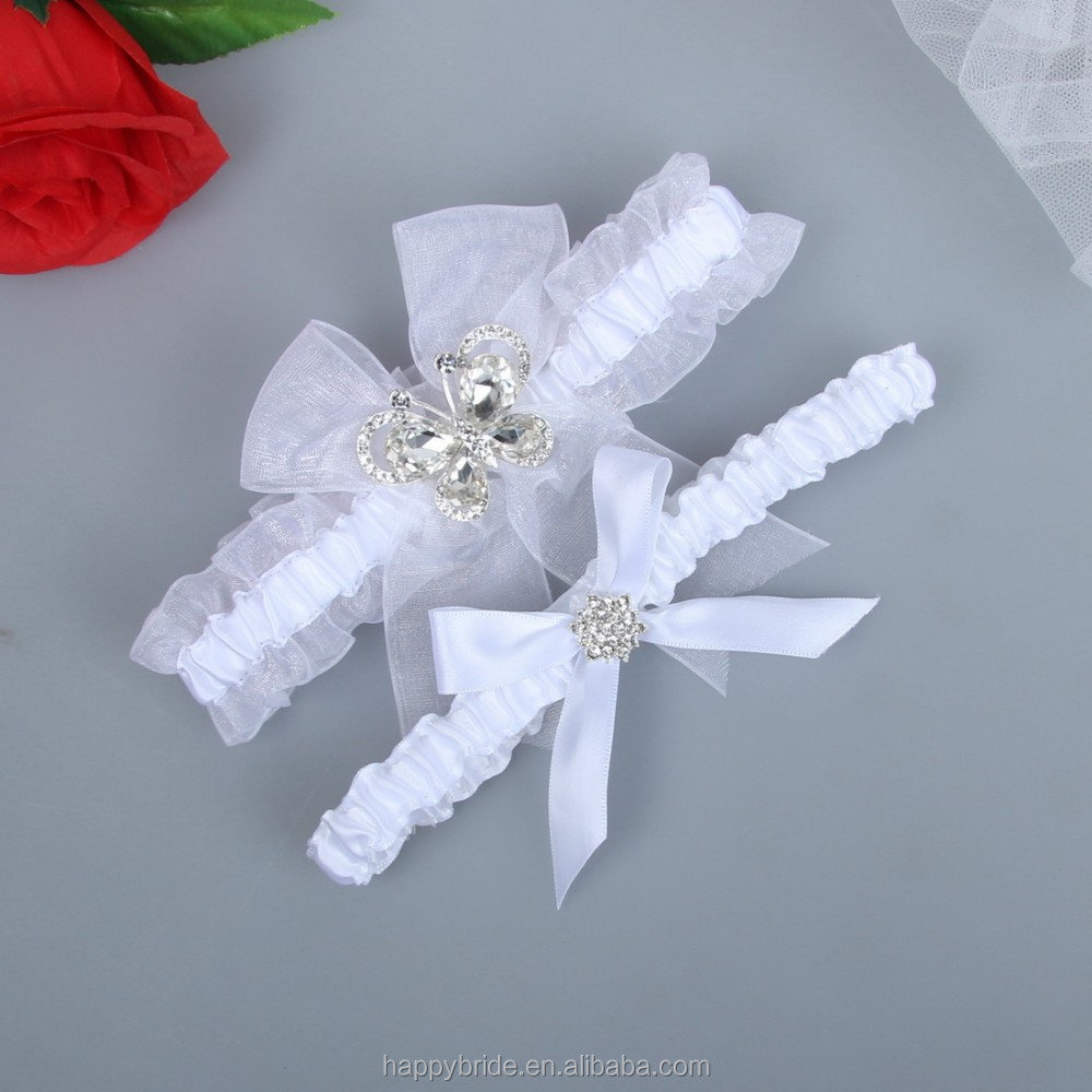 LOWOSAIWOR Vintage Ribbon Elastic Trim Bridal Garter Set for Wedding Handmade HT00018