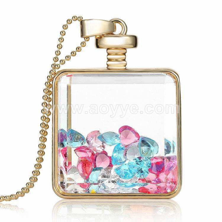 Manufacturers selling square vows stone DIY glass box necklace supplies creative jewelry