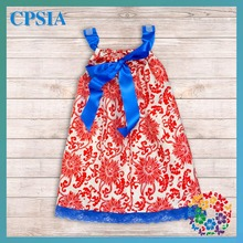 Pretty Girls Baby Infant Red Flower Design Pillow Case Dress with Royal Blue Satin Ribbon