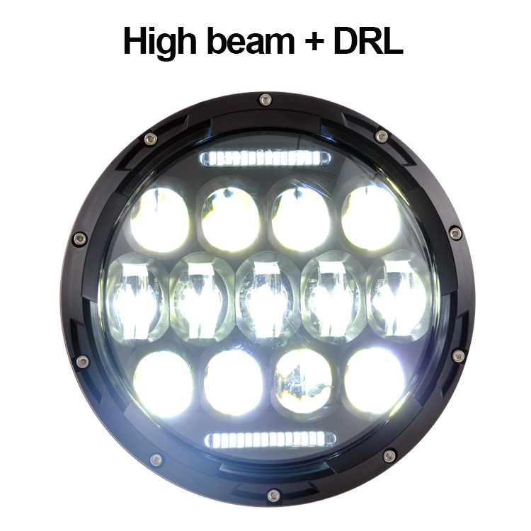 top quality headlamp round 7 inch 75w hi low beam jeep wrangler led headlight with DRL