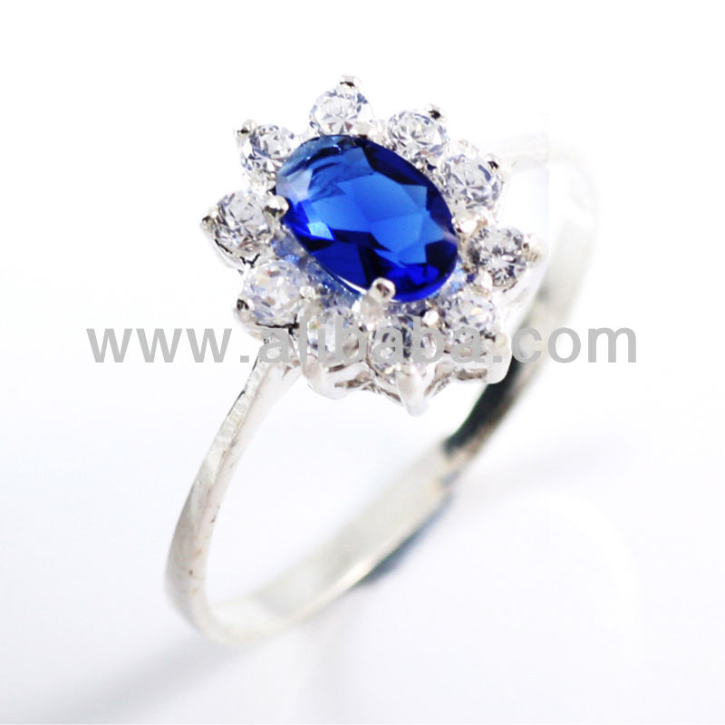 Kate Middleton Inspired Sapphire Blue Engagement 925 sterling silver ring