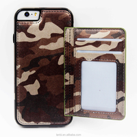 wholesale Pu leather wallet cover Camouflage photo frame phone case for iphone 5se 6