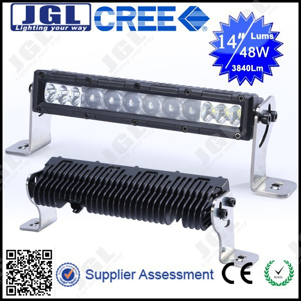 JGL top quality unique design led light bar 4*4 aluminum housing led light bar 48w 24v auto led lamp bar offroad