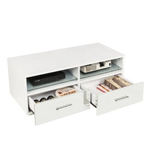 High Gloss LED TV Stand Unit Cabinet with Shelves 2 Drawers White Home <strong>Furniture</strong>