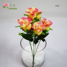 6 heads smile rose buds colored cheap polyester flower mini flower bunch