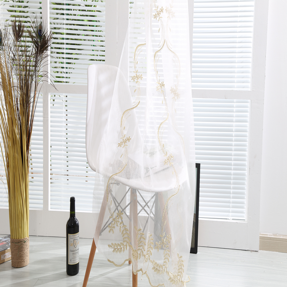 Unique new arrival curtain design embroidery sheer fabric curtain drapery