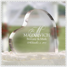 Romantic Heart Shape Clear Optical Glass Wedding Cake Topper